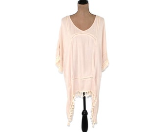 7060ef8cd1f Beige Oversize Top Hippie Clothes Boho Tunic Rayon Cover Up Fringe High Low  Top Beige Kaftan Shirt Women Plus Size Clothing Womens Clothing