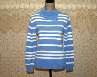 Blue and White Stripe Sweater Womens Medium Cotton Pullover Mock Turtleneck Womens Sweaters Cotton Sweater Womens Clothing