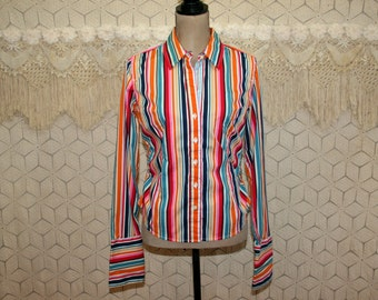 f9a38ca3df7b2b Long Sleeve Button Up Shirt Women Medium Colorful Rainbow Stripe Shirt  Cotton Blouse Casual Top Fitted Tailored Hipster Tommy Hilfiger