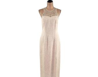 3ef36ffc5bc5b Beige Linen Dress Long Sleeveless Maxi Summer Dresses for Women Large  Clothes Hippie Boho Style Knapp Studio 90s 1990s Vintage Clothing