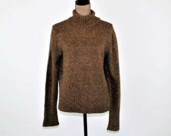 90s Womens Turtleneck Sweater Brown Wool Warm Fall Winter Turtle Neck Sweater Riveted by Lee Vintage Clothing Womens Clothing