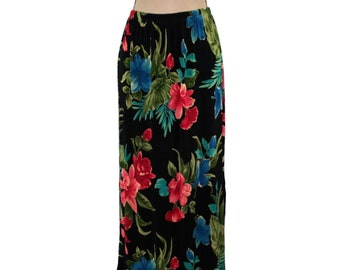 136e0affda Black Floral Maxi Skirt Large Long Knit Skirt Tropical Hawaiian Orchid  Hibiscus Spring Summer Alfred Dunner 90s Vintage Clothing Women