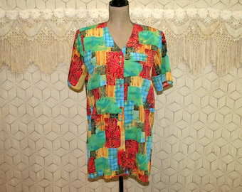80s Vintage Shirt Women Colorful Blouse Short Sleeve Button Up Top Tunic Patchwork Print Top Long Top 1980s Vintage Clothing Womens Clothing