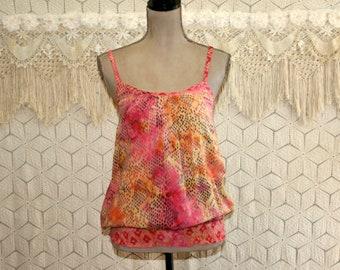 Womens Summer Tops Spaghetti Strap Batik Rayon Hippie Boho Sun Top Casual Small Medium Hippie Clothing Boho Clothing Womens Clothing