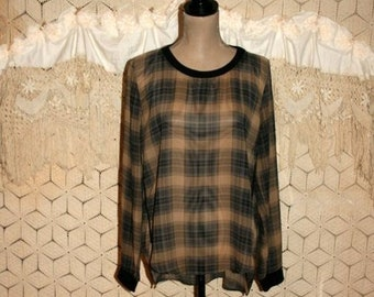 dab65acf8c44e Plaid Shirt Women Medium Long Sleeve Loose Fit Blouse Chiffon Top Sheer  Navy Blue   Tan Casual Clothes Oversized Grunge 90s Vintage Clothing