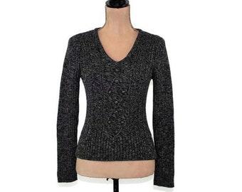 cfaf15f21ae Marled Gray Sweater V Neck Pullover Fisherman Aran Knit Cotton Sweater  Women XS Small Dark Gray Pullover Sweater Vintage Izod