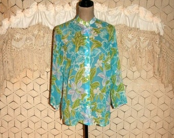 c14f66c779a5 3 4 Sleeve Silk Blouse Sheer Chiffon Floral Shirt Women Tunic Top Collarless  Button Up Blue Green Print Laura Ashley Vintage Clothing Small
