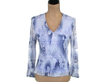 a3d8b40c36c 90s Blue Lace Top Long Sleeve Bell Cuff Boho Blouse Medium Hippie Shirt  Women V Neck Romantic Vintage Clothing 1990s Clothes Dressbarn