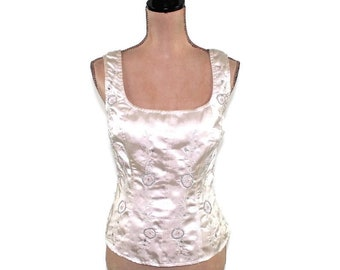 78f8fd34592 Sleeveless White Satin Top Dressy Beaded Embroidered Cocktail Blouse Size 8  10 Silver Off White Scoop Neck Vintage Clothing Women Medium