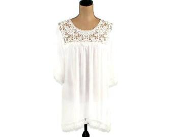 Bohemian tunic white Boho tunic dress Bohemian clothing Hippi style Gypsy costume Cotton fabric Casual apparel Cotton lace Sleeveless