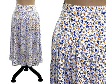 e2cf38b04 80s Daisy Print Skirt, Women Floral Pleated Skirt, High Waist Drop, A Line  Midi Maggy Boutique by James Dougherty, 1980s Vintage Clothing