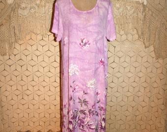 d2b9a4e42e88f Short Sleeve Midi Dress Large XL Women La Cera Casual Summer Dress Loose  Fitting Gauze Rayon Lavender Print Floral Dress 90s Plus Size 14 16