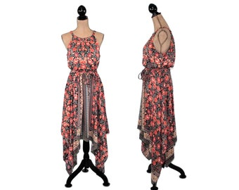 e639020c845e Boho Dress Sleeveless Maxi Dress Long Summer Dress Rayon Floral Print  Asymmetrical Dress Bohemian Beach Dress Hippie Clothes Boho Clothing