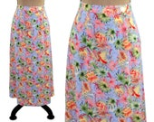 90s Long Floral Maxi Skirt, High Waisted A Line, Polyester Spring Summer, 1990s Clothes Women, Vintage Clothing Petite, Sag Harbor Size 6 8