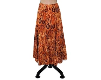 bbe8deee257a7 Plus Size Maxi Skirt Long Cotton Skirt XL Hippie Clothes Boho Clothing  Orange Rust Abstract Print Full A Line Peasant Skirts Women Size 16