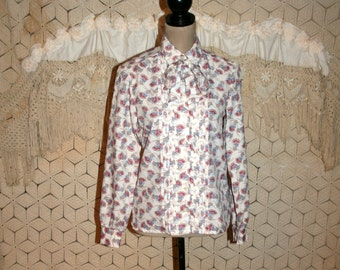 70891311c8f50 80s Bow Blouse Small Long Sleeve Button Up White Print Pleated Secretary Blouse  Donnkenny 1980s Clothing Vintage Clothing Womens Clothing