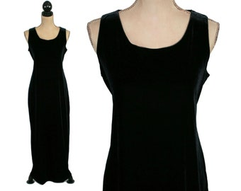 Size 12 Vintage 90s Black Stretchy Scoop Neck Sleeveless Loose Fit Maxi Dress