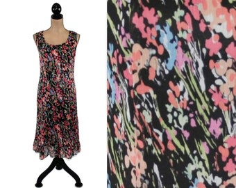 06c8f5f5481 Chiffon Floral Dress Size 12 Sleeveless Midi Dress Large Summer Dress Women  Abstract Black Floral Print Dress with Ruffle Hem