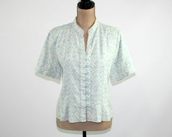 NUDO TOP Block print shirt knotted blouse three quarter sleeve shirt button down knot top