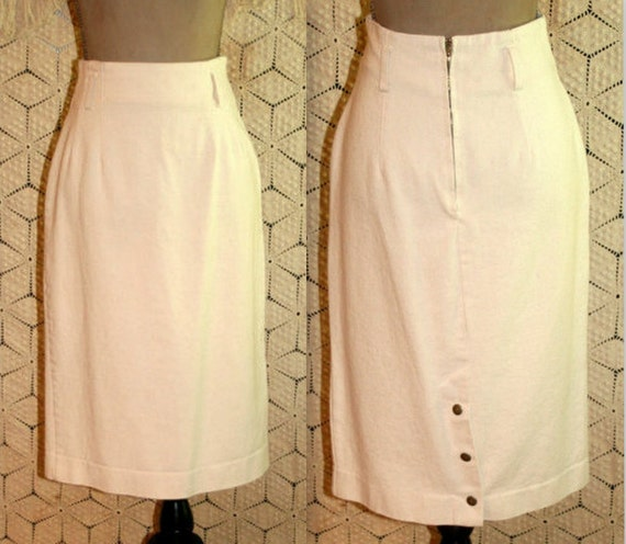 80s Pencil Skirt XS High Waisted Midi Skirts Women Cream Cotton Casual Minimalist 1980s Vintage Clothing Womens Clothes