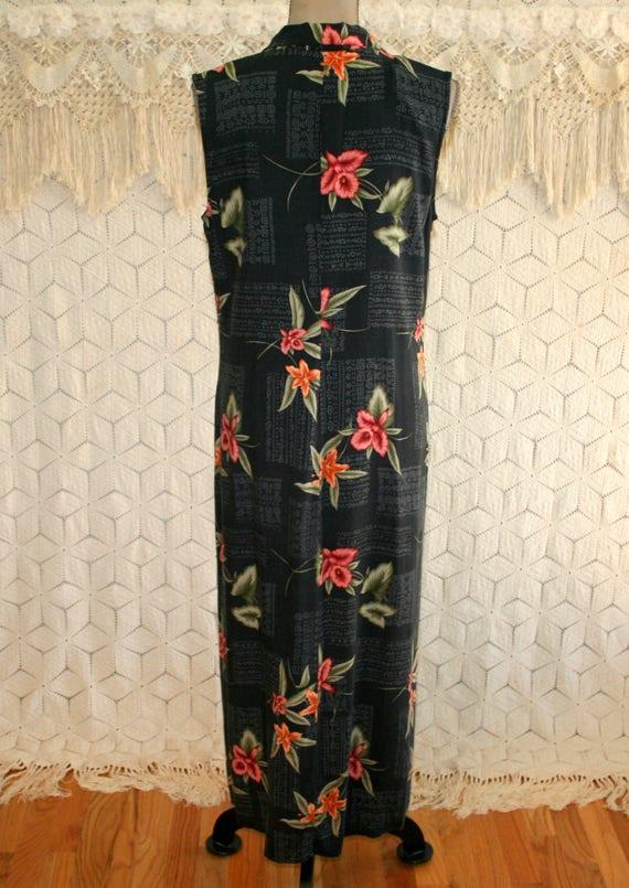a264733e34cf9 90s Maxi Dress Black Floral Tropical Sleeveless Long Summer