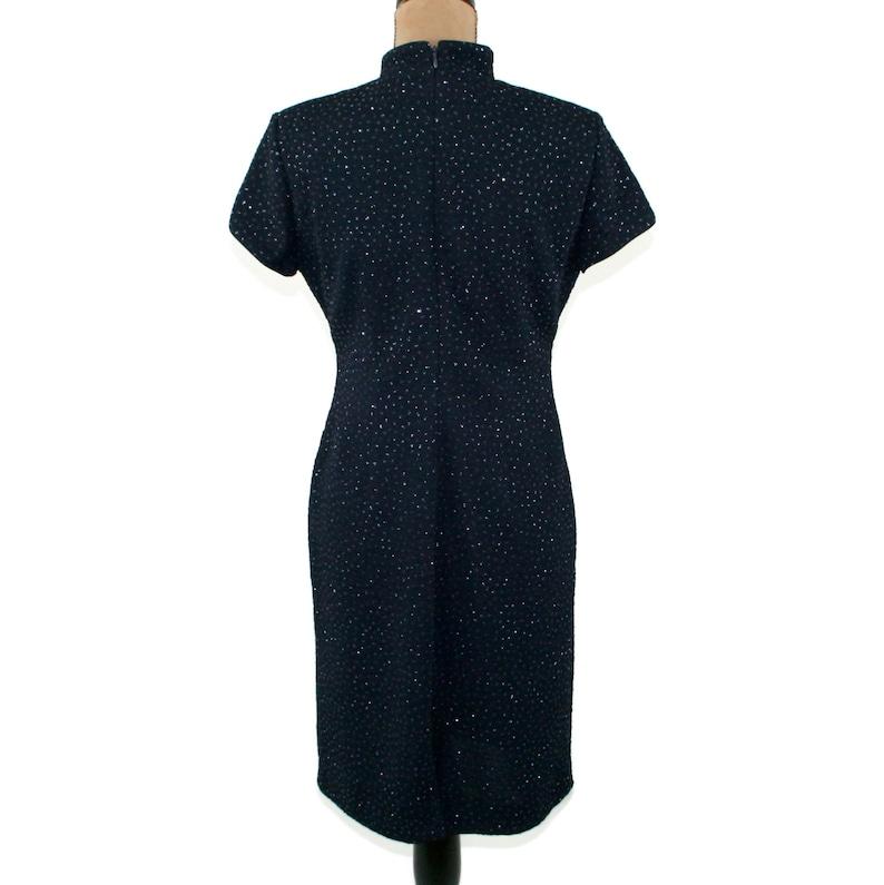 Short Sleeve Mandarin Collar Dress Asian Navy Blue Midi Sparkly ...