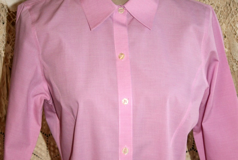 34 Sleeve Pink Cotton Blouse Size 8 Collared Button Shirt Women Medium Casual Tops Spring Summer Preppy Tailored 90s Vintage Liz Claiborne
