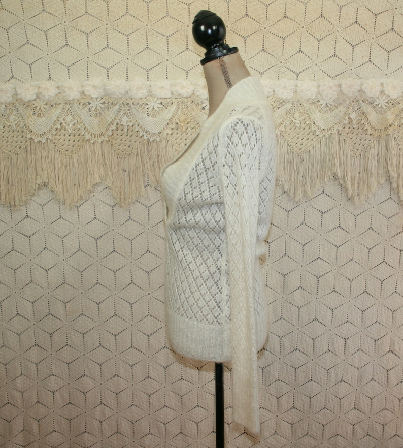 Womens V Neck Sweater XS Small Cream White Pullover Wool Sweater Mohair Sparkly Pointelle Knit Lacy Sheer Open Weave Ann Taylor