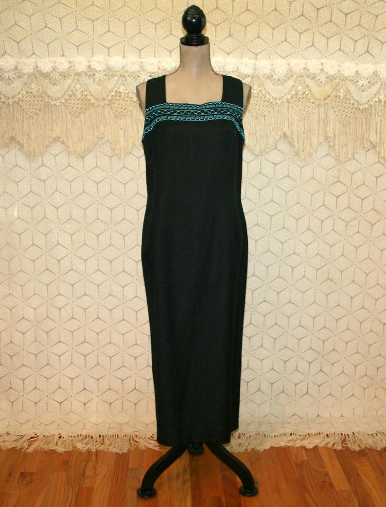 8eca445e22 Black Linen Dress Sleeveless Maxi Petite Large XL Turquoise Bead Embroidered  Sum... Black Linen Dress Sleeveless Maxi Petite Large XL Turquoise Bead ...