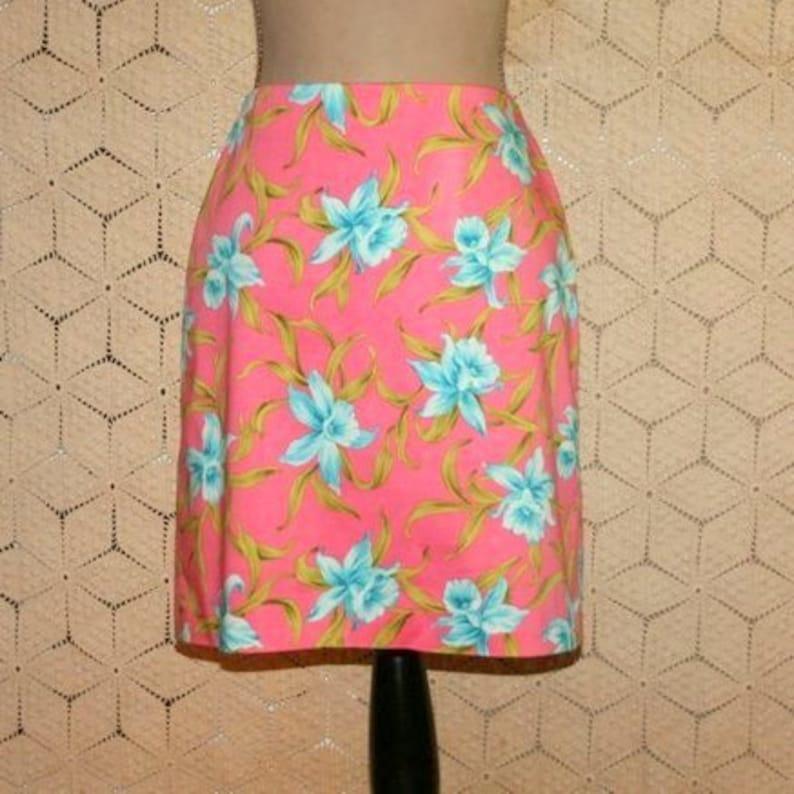 2e09f6e55610 Short Cotton Skirt Mini Floral Print Orchid Tropical Hawaiian