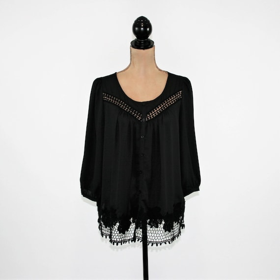 Black Chiffon Blouse 3 4 Sleeve Button Up Shirt Women Sheer Etsy