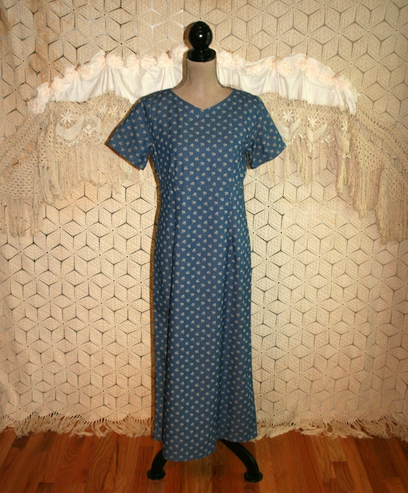 b429c1e1a Blue Floral Maxi Dress Long Cotton Dresses for Women Medium