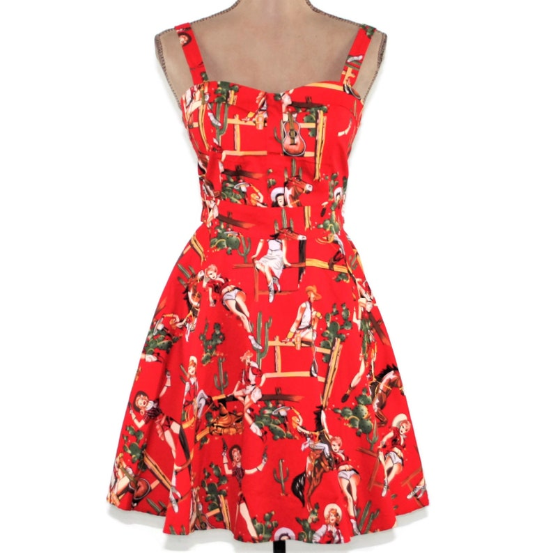 4da221eaa44f Retro Summer Dress Women Cowgirl Novelty Print Sundress Cotton