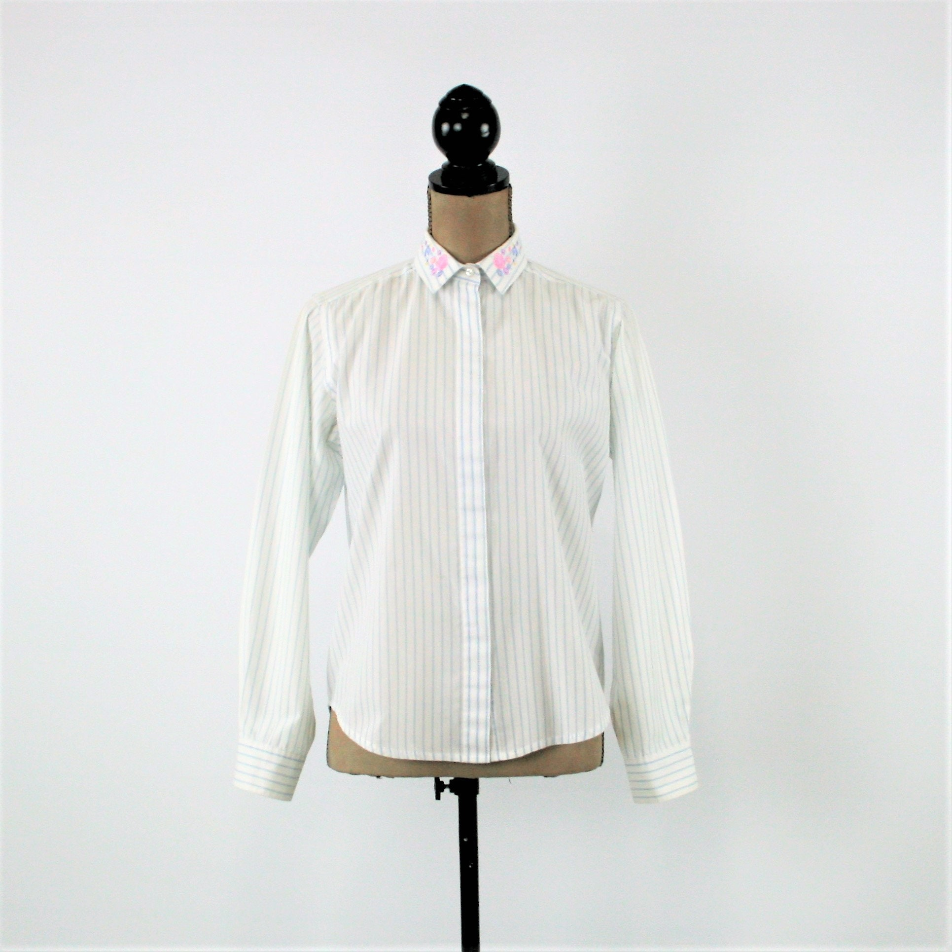 70s Long Sleeve Shirt Women Button Up Blouse White With Light Etsy