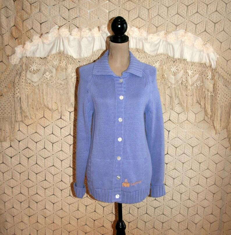 085367edc11 Longaberger Purple Cardigan Sweater Women Medium Cotton