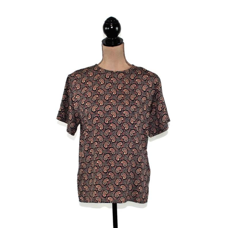 1980s Blouse Short Sleeve Paisley Shirt Boxy Navy Blue Print Rayon Office Wear Liz Claiborne Top 80s Vintage Clothing Women Medium Petite