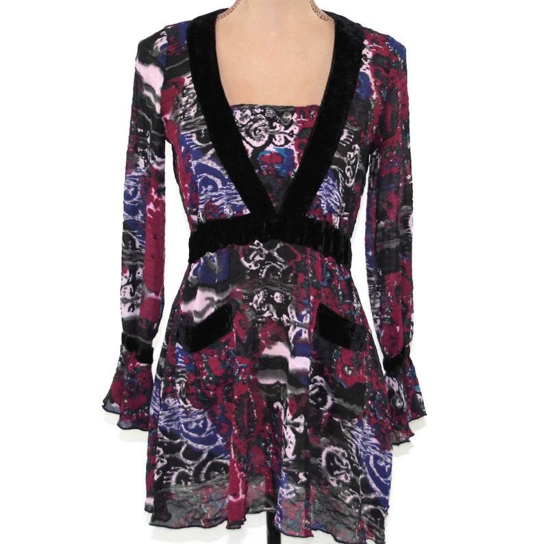 Long Sleeve Boho Top XS Small Romantic Empire Waist Blouse Batik Sheer Purple Print Shirt Ruffle Cuff Hippie Clothes Bohemian Women Clothing