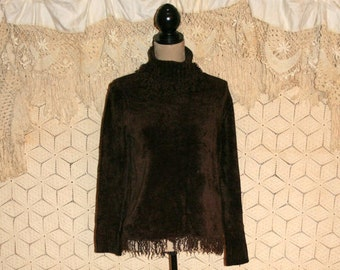 Brown Turtleneck Sweater Top Fall Sweater Fringe Hippie Grunge Sweater Chenille Pullover Sweater Women Sweaters Medium Large Womens Clothing