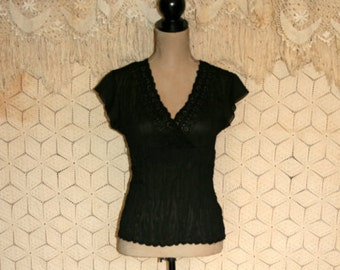 Goth Gothic Black Top Beaded Black Blouse Bohemian Blouse Romantic Blouse Sheer Blouse Short Sleeve Blouse Size 4/6 Small Womens Clothing