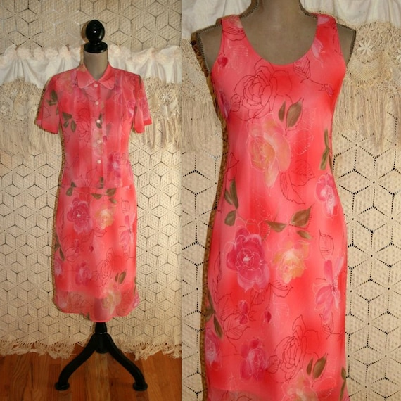 49107dfae8479d 90s Peach Floral Dress Small Petite 2 Piece Sleeveless Chiffon