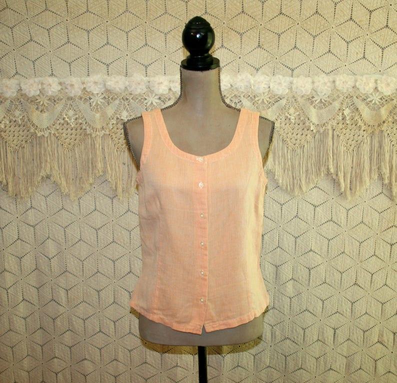 ede2bfd1b64942 Orange Sleeveless Linen Top Peach Shirt Cotton Blouse Women