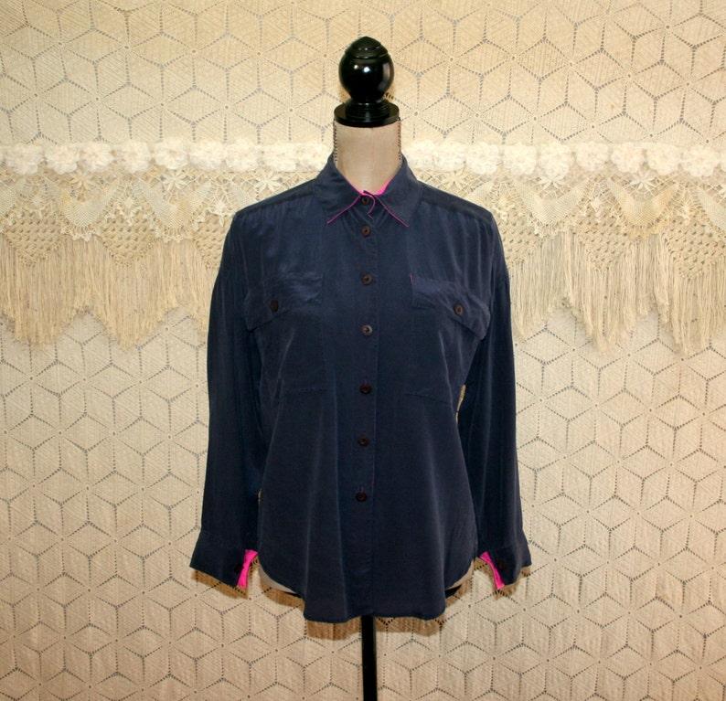 0ab7bb6fa4acf 80s Button Up Shirt Silk Blouse Large Oversized Long Sleeve