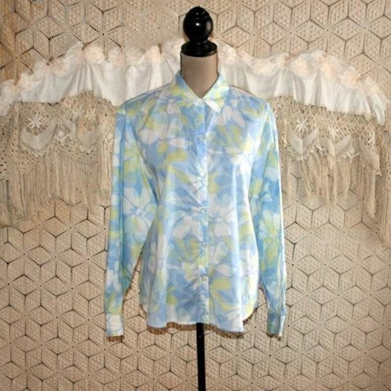 0a0b964d0a9 White Yellow Light Blue Floral Blouse Long Sleeve Cotton Shirt