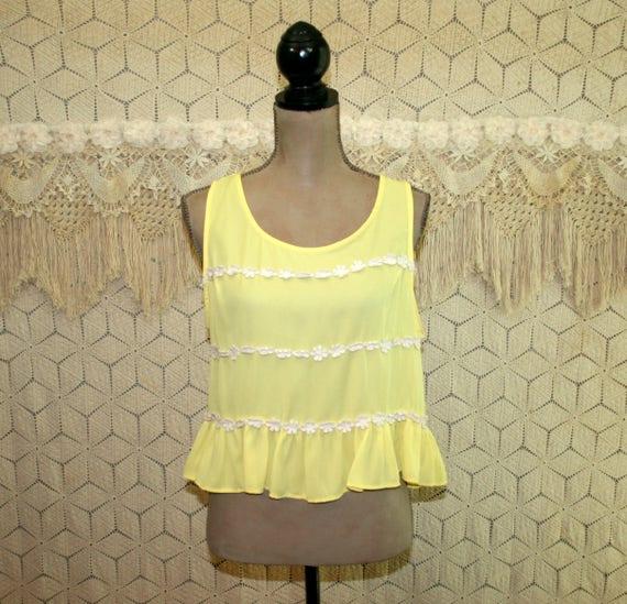 8569457db745f8 Sleeveless Yellow Chiffon Blouse Boho Summer Top Women