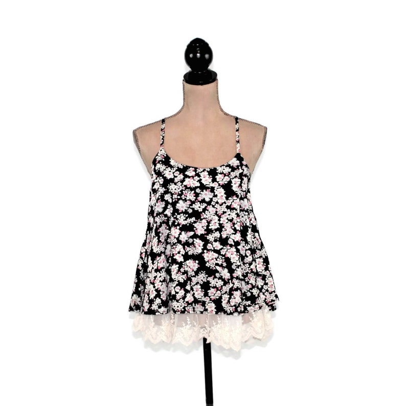 aaa15af4844 Spaghetti Strap Summer Top Women Babydoll Black Floral Blouse