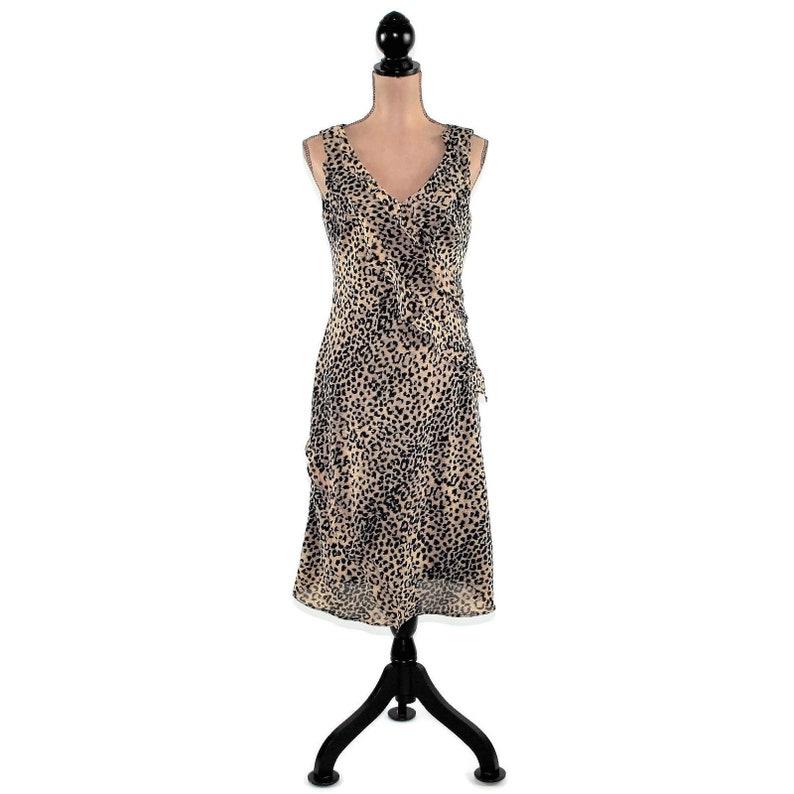 61f4583aeae0e 90s Animal Print Dress Women Sleeveless Dress Cheetah Midi