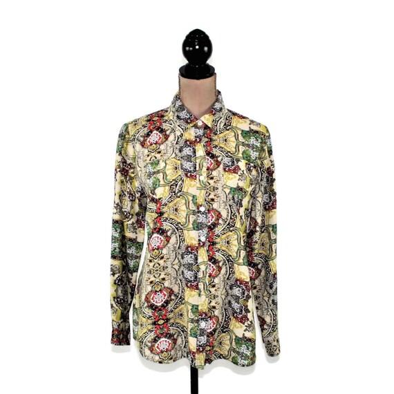 391e1be8 Bohemian Print Shirt Medium Women Van Heusen Long Sleeve | Etsy