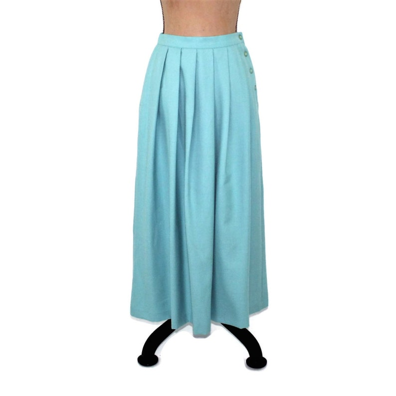 0cfa813c9 80s Wool Pleated Skirt Long High Waisted Maxi Skirt Women | Etsy