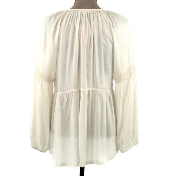 Romantic Boho Top Peasant Blouse Long Sleeve Rayon Loose Fitting Cream Blouse White High Low Top Keyhole Boho Clothing New Womens Clothing