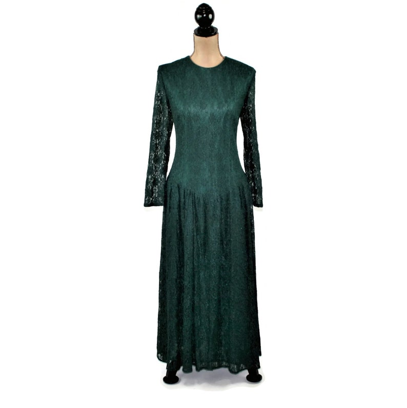 c6d9f73e27f Green Lace Dress 80s Party Dress Long Sleeve Maxi Dress | Etsy
